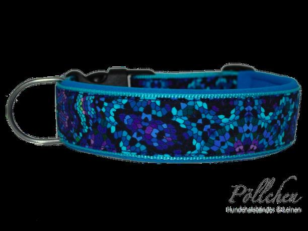 Halsband mit Neopren für Hunde in kühlen Blautönen mit Steckverschluß