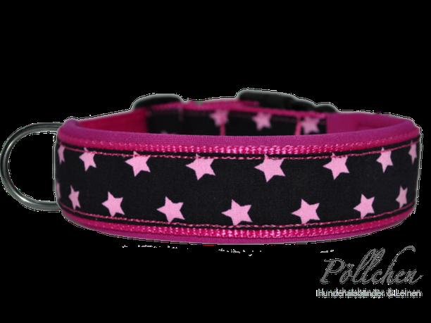 Halsband mit Sternen in pink und Neoprenpolsterung