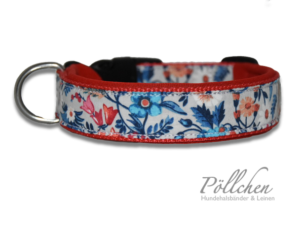 niedliches rotes Halsband mit Blümchen extrabreit aus Nylon - auch in Übergrößen XXL und Zugstopp bzw. Schlupfhalsband