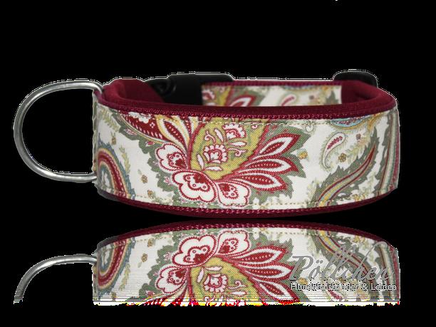 Paisley-Halsband für Hunde extrabreit mit Neopren - auch in Übergrößen XXL und Zugstopp bzw. Schlupfhalsband