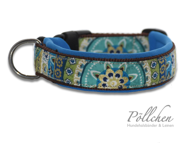 blau braunes Halsband - weich durch Neopren - passend auf Maß gefertigt - Zugstopp oder Steckverschluss