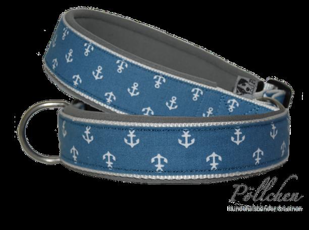 maritimes Halsband mit Ankern in hellblau für kleine und große Hunde auf Maß
