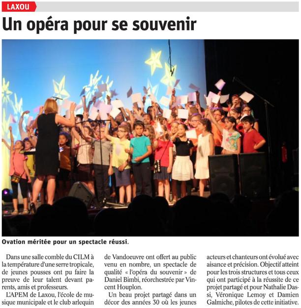 représentations de l'Opéra du Souvenir le mardi 3 juillet 2018 - Salle de spectacles du CILM