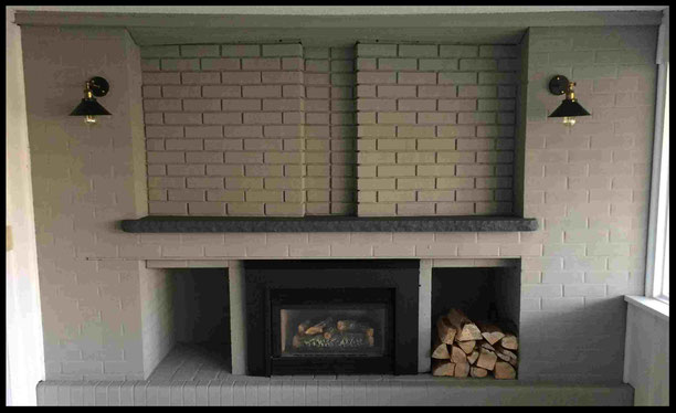 Fireplace painted with Benjamin Moore Arborcoat Solid Stain