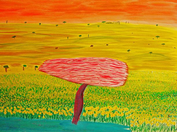 @ateliereifach.ch-le paradis-Kunstbild-Kunstkarte-Rot-Gelbtöne-Landschaft