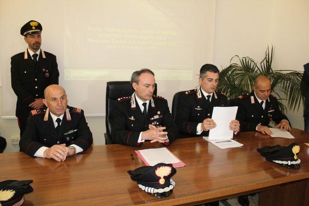 Da sinistra seduti: il luogotenente Pizzotti, il Colonnello Tuccio, il Maggiore Ciabocco, il Maresciallo De Santis