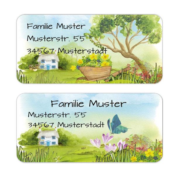 eckige Adressaufkleber mit Bauernhaus, Blumen und Baum, auf umweltfreundlichen PVC-freien selbstklebenden Papier, wasserfest