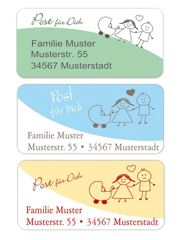 eckige Adressaufkleber mit Mama, Papa und Kind, auf umweltfreundlichen PVC-freien selbstklebenden Papier, wasserfest
