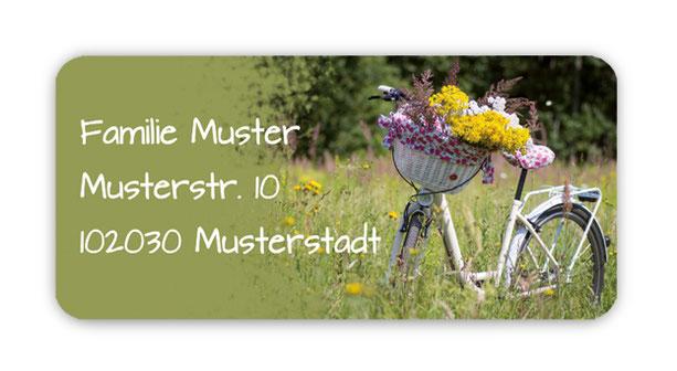 romantische eckige  Adressaufkleber mit weißem Fahrrad und Blumen im Korb, auf umweltfreundlichen PVC-freien selbstklebenden Papier, wasserfest