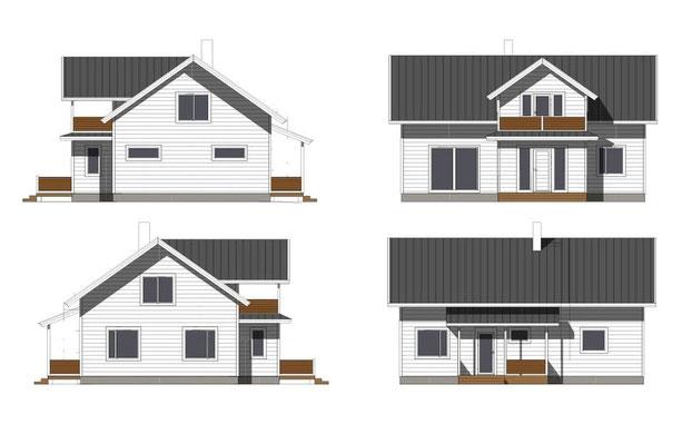 Holzhaus Entwurfsplanung Ansichten Typenhaus Hausplanung