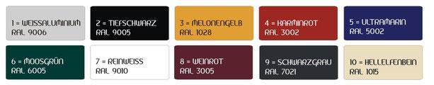 Unsere Standard RAL-Farben