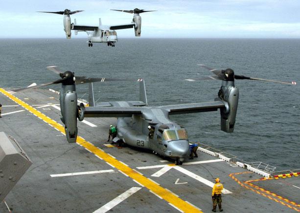 Un Osprey durante un esercitazione. (Foto:US Navy)