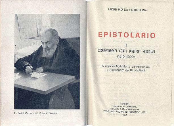 Prima edizione dell'Epistolario di Padre Pio da Pietrelcina