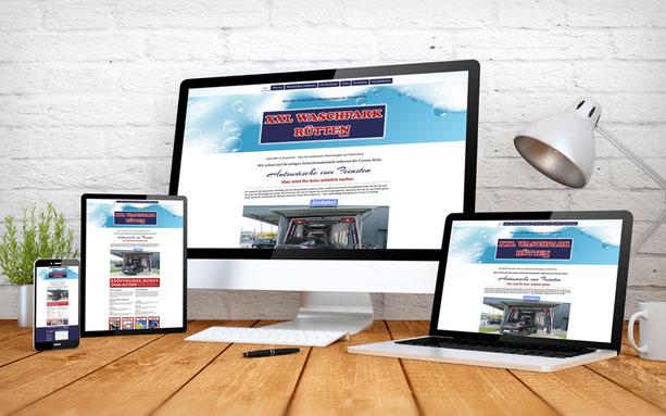 Homepage Ansicht auf verschiedenen Divices des neuen XXL Waschpark Rütten in Emmerich.