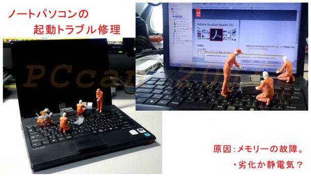 新宿での「ノートパソコンの起動トラブル修理」、PCcanサービスのイメージ図です。