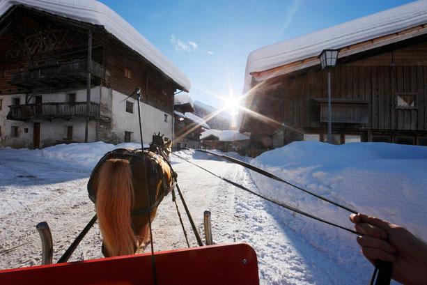 Pferdeschlittenfahrt am Reschenpass in Reschen am See im Vinschgau - Romantikurlaub in Südtirol