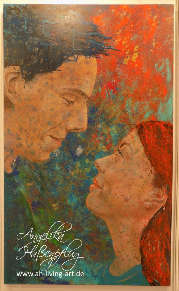 Portrait, Porträt Malerei, Bild von Angelika Haßenpflug, Living art, Auftragsarbeit, moderne malerei, abstrakt