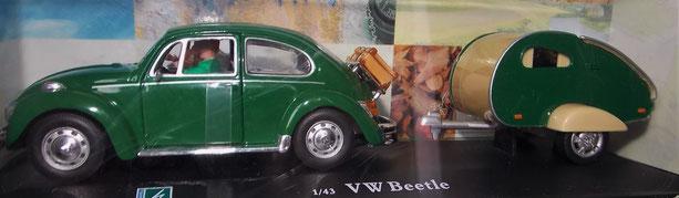 VW Käfer mit Wohnanhänger, Wohnwagen, 1:43,