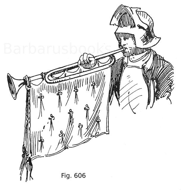 Fig. 606. Trompete aus dem Turnierbuch des Königs René. 15. Jahrhundert. Nach Viollet-le-Duc.