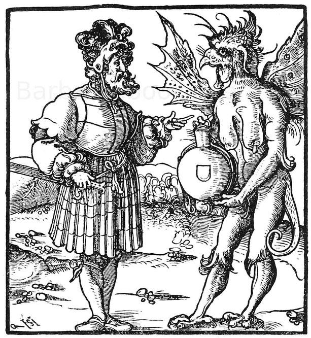 Der Saufteufel. Holzschnitt von Schäufelin. Aus Leonredt, Himmelswagen und Höllenwagen. Augsburg 1517.