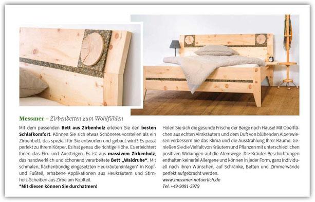 Beitrag in der Zeitschrift Kraut & Rüben über unsere Zirbenbetten mit wohltuenden Kräutereinlagen mit zwei Bildern des Zirbenbetts Waldruhe