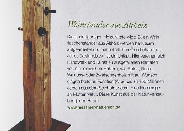 Beitrag in der Zeitschrift Kraut & Rüben über die Designobjekte aus Holz, Fossilien, Glas und Metall von Josef Meßmer