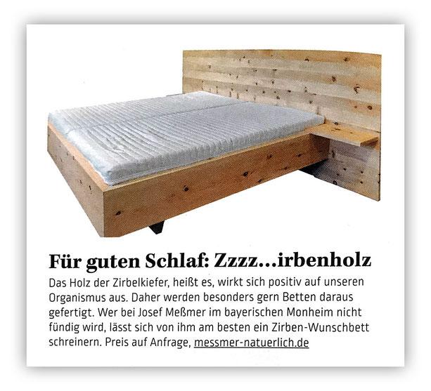 Zeitschrift FOOD & FARM mit einem Beitrag über die Zirbenbetten von Josef Meßmer