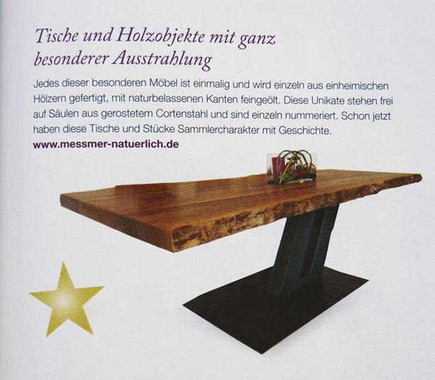 Beitrag in der Zeitschrift Kraut & Rüben über die Unikattische aus Holz und Cortenstahl von Josef Meßmer