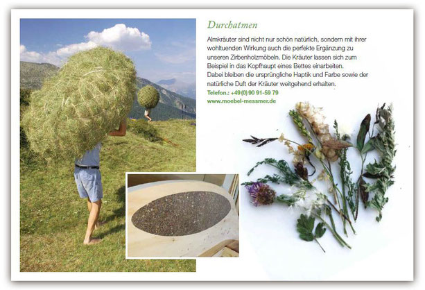 Zeitschrift Kraut & Rüben mit einem Beitrag über die Kombination von Zirbenholz und Almkräutern in Betten oder anderen Möbeln von Josef Meßmer