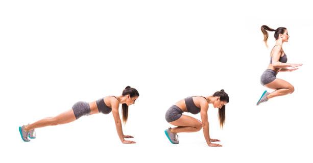 eine Sportlerin liegt zuerst auf dem Boden und springt dann auf