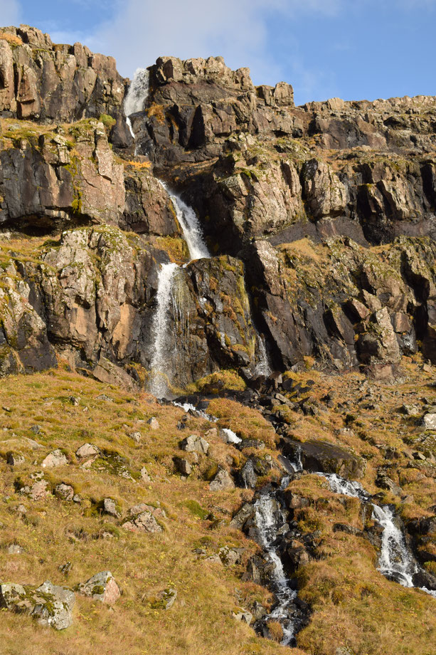 small waterfall, hiking East Fjords, Iceland