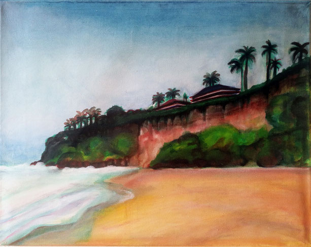 Varkala Cliff in Kerala, oil on canvas, 35 x 45 cm, 2018