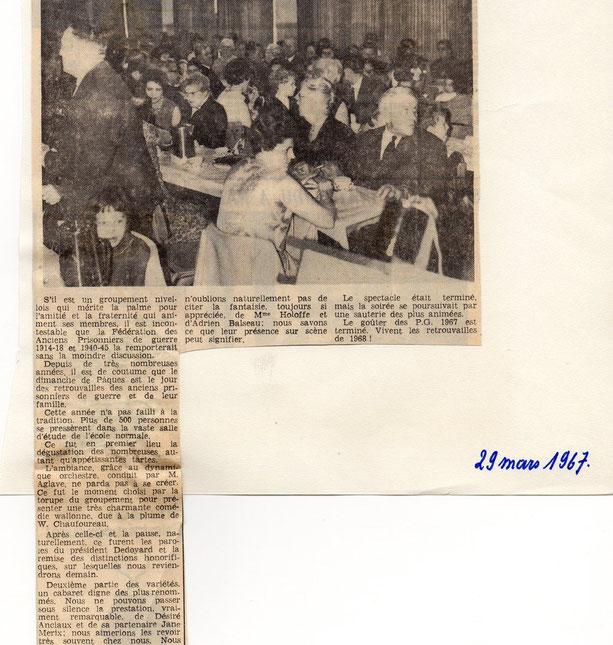 """Article paru dans le journal """"Le Peuple"""" du 29/3/1967"""
