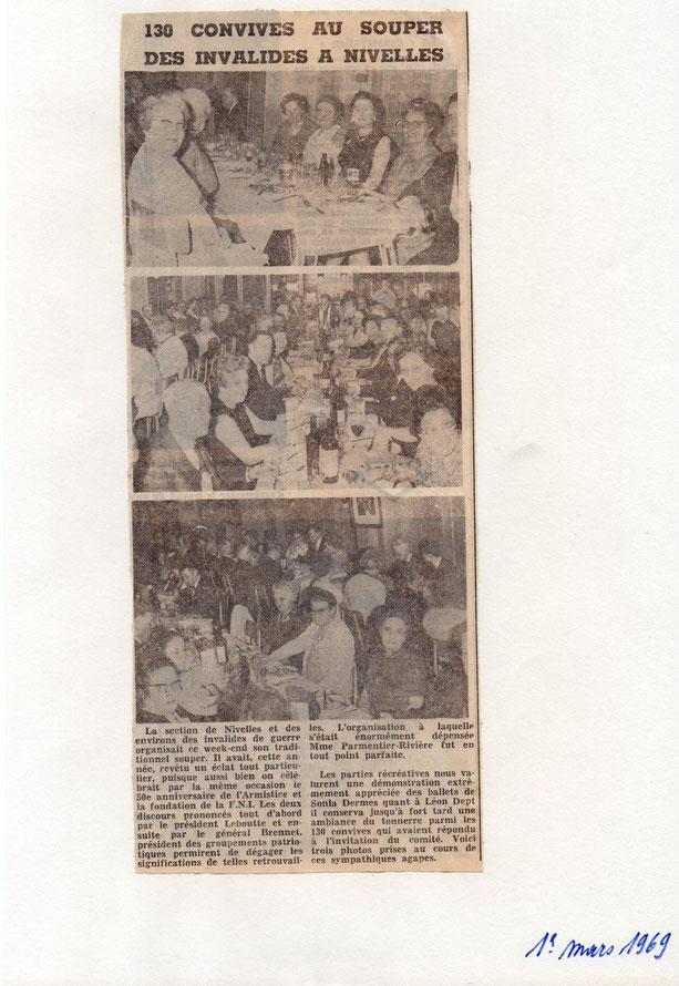 """Article paru dans le journal """"Le Peuple"""" du 1/3/1969"""