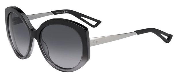 Occhiali da sole Christian Dior donna. Modello: Diorextase1. Colore: OSG/HD nero e argento. Calibro 58-17. Prezzo € 230,00. Spedizione gratis. Materiale: acetato e metallo.