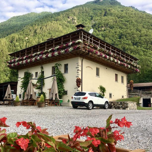 Übernachtung 3: Unsere Erholungsoase, die Agritur La Polentera im Val di Chiese.