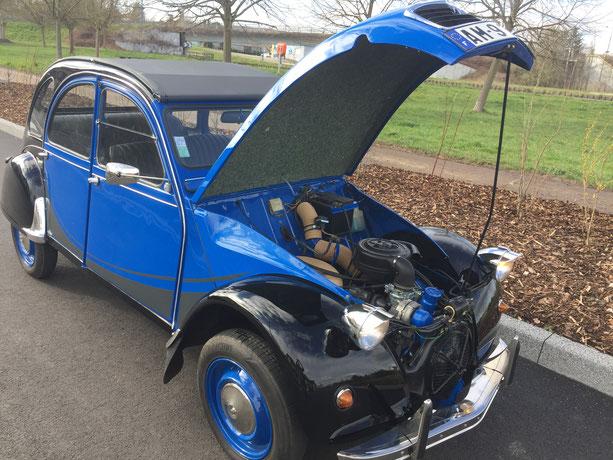 2cv citroen charleston bleu noir restauration moteur capot