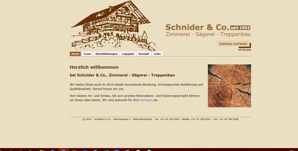 Die Webseite der Zimmerei Schnider & Co.