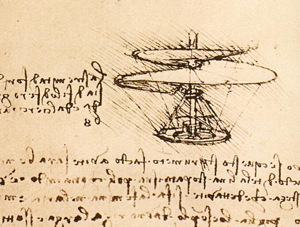 ダ・ヴィンチによるヘリコプターのスケッチ