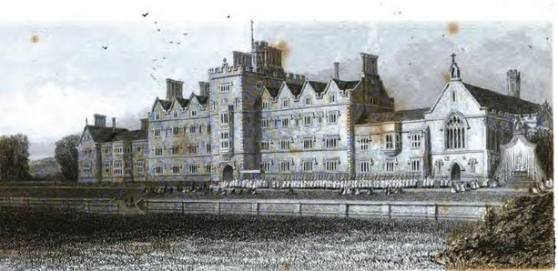Oscott College from Thomas Roscoe 1839 Book of the Grand Junction Railway, image in the public domain.