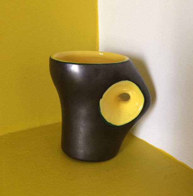 joli, céramique années 50, céramique vintage, Pol Chambost, Jouve, céramique jaune et noire