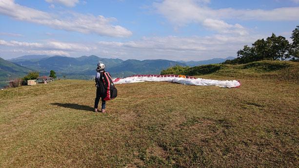 伐株山パラグライダー体験タンデムフライトスクール