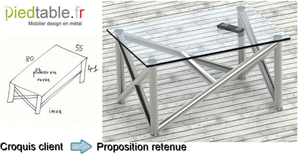 Pied de table en inox pour table basse design