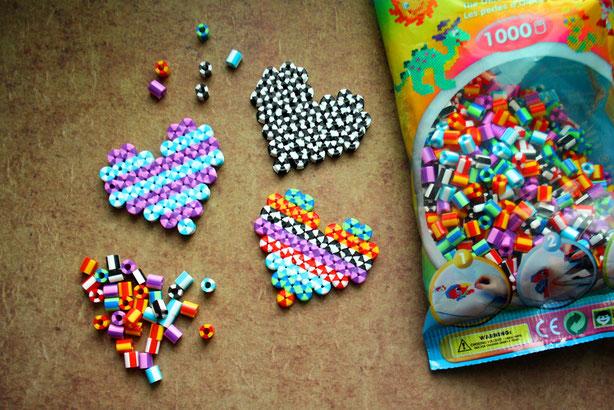Hama Bügelperlen, NEU, gestreift, Herz, Muttertag, Heart, Mothers Day, Perler Beads,