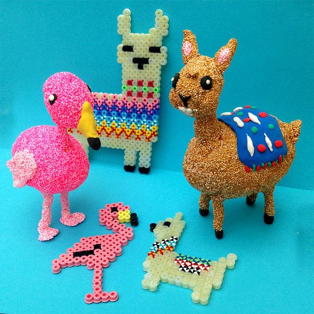 Basteln mit  Foam Clay & Hama:  Lama &  Flamingo