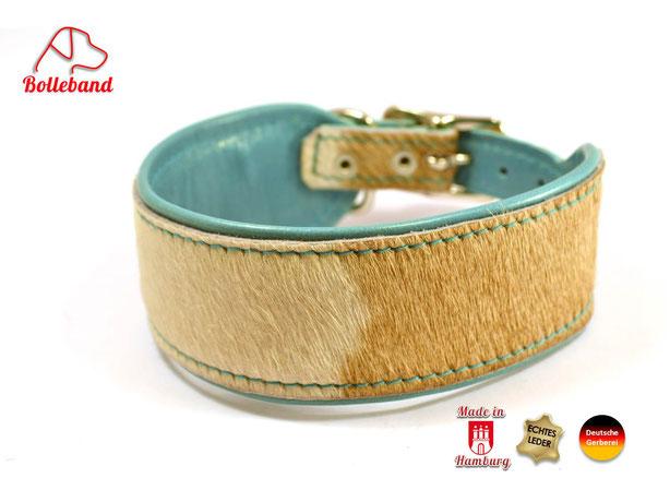 Windhundhalsband mit türkisem Futterleder und aufgenähtem Kuhfell von Bolleband