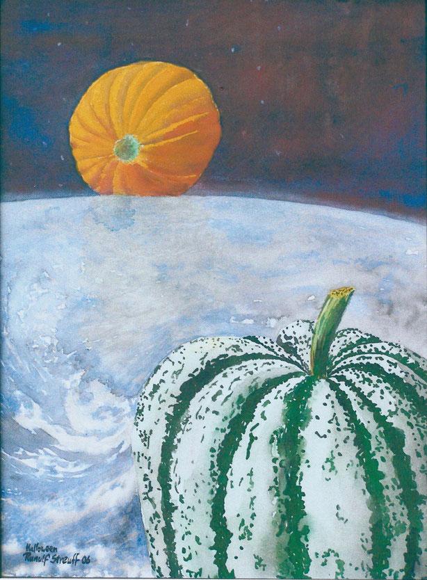 """Ranulf Streuff, """"Halloween"""", 2006, Japantusche/Lw., 70 x 50 cm"""