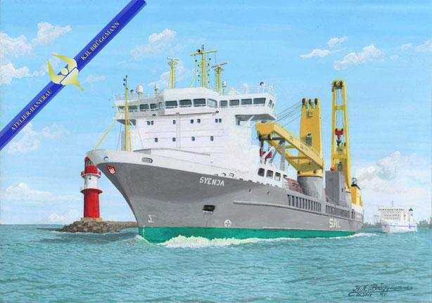 Schwergutfrachter SVENJA der SAL Heavy Lift auslaufend Warnemünde
