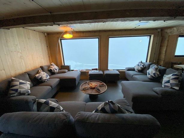 The small lounge in our new alp hut. Here we were able to implement our own style.
