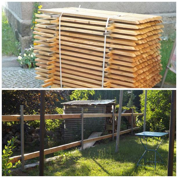 Wir sind selbst gerade dabei, hinterm Haus einen neuen Zaun zu bauen